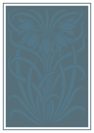 stenciled: Blue silhouette of flowers ornament. Figure bouquet in the form of a stencil. Vector background