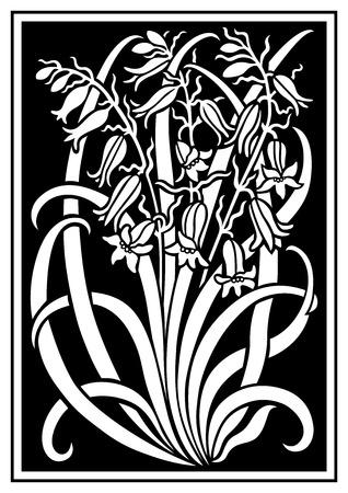 silueta blanca de flores de adorno en un fondo negro. Figura ramo en forma de una plantilla. Modelo del vector con campanulas