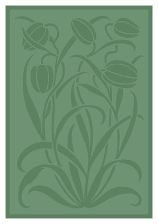 Silueta verde del ornamento de las flores. Figura ramo en forma de una plantilla. Modelo del vector con los tulipanes