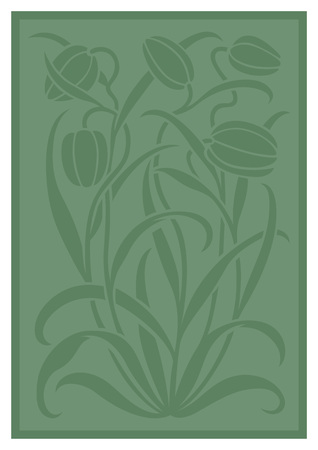 Green silhouette of flowers ornament. Figure bouquet in the form of a stencil. Vector pattern with tulips Vectores
