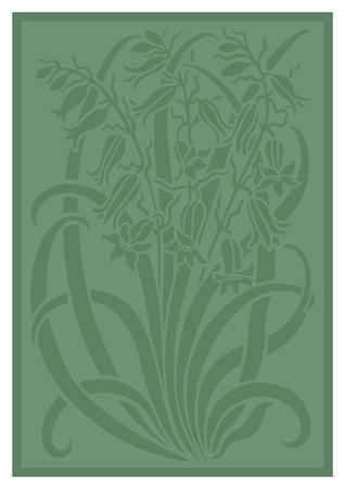 Silueta verde del ornamento de las flores. Figura ramo en forma de una plantilla. Modelo del vector con campanulas
