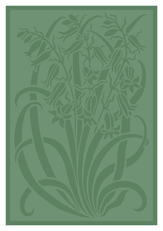 Green silhouette of flowers ornament. Figure bouquet in the form of a stencil. Vector pattern with campanulas