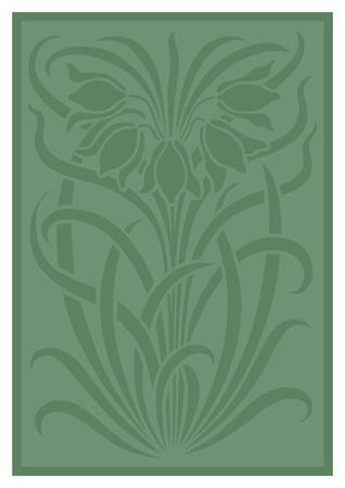 Silueta verde del ornamento de las flores. Figura ramo en forma de una plantilla. fondo del vector
