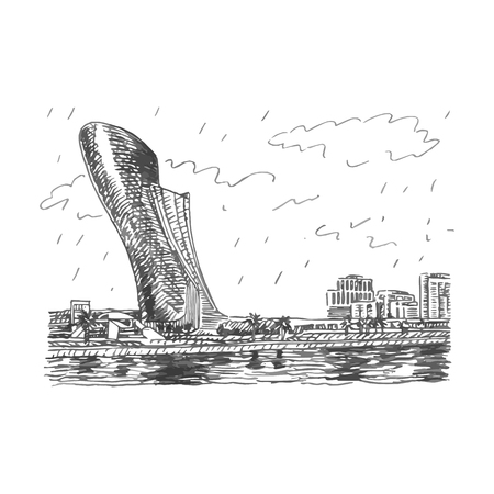 manmade: View of the Capital Gate Tower in Abu Dhabi, UAE. Vector hand drawn sketch