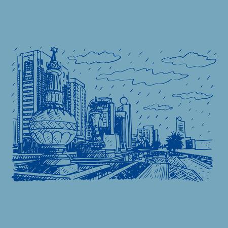 promenade: Street view in Abu Dhabi, United Arab Emirates. Vector hand drawn sketch