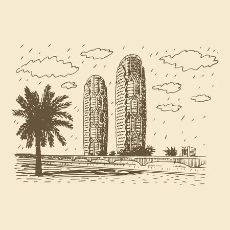 al: Al Bahr Towers in the city of Abu Dhabi, United Arab Emirates. Vector hand drawn sketch Illustration