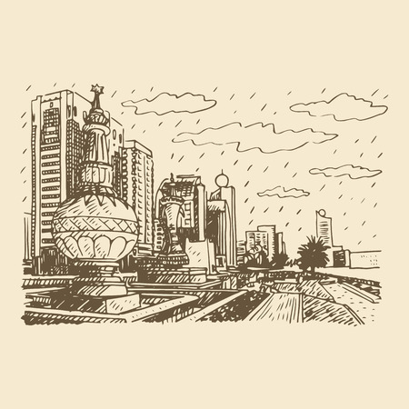 abudhabi: Street view in Abu Dhabi, United Arab Emirates. Vector hand drawn sketch