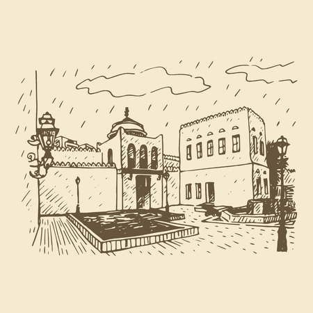 known: The Qasr al-Hosn, also known as the White Fort. The oldest stone building in Abu Dhabi, United Arab Emirates. Vector hand drawn sketch Illustration