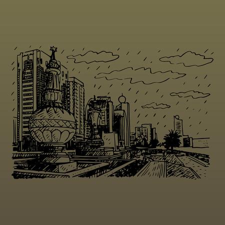 Street view in Abu Dhabi, United Arab Emirates. Vector hand drawn sketch