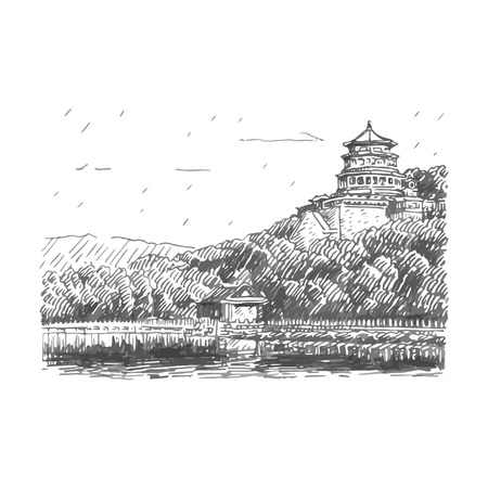 beijing: The Summer Palace scenery, Beijing, China. Vector freehand pencil sketch.