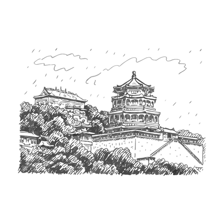 unesco: The Summer Palace in Beijing, China. Vector freehand pencil sketch. Illustration