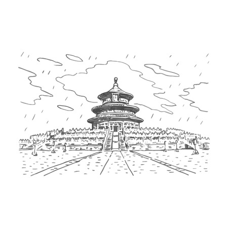 beijing: The Hall of Prayer for Good Harvests in Beijing, China. Vector freehand pencil sketch. Illustration