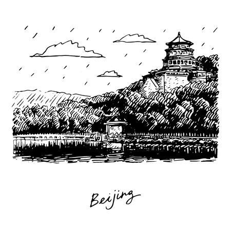 translated: The Summer Palace scenery, Beijing, China. Vector freehand pencil sketch. The hieroglyphs translated as Beijing.
