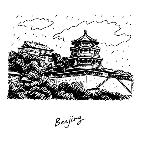 translated: The Summer Palace in Beijing, China. Vector freehand pencil sketch. The hieroglyphs translated as Beijing. Illustration