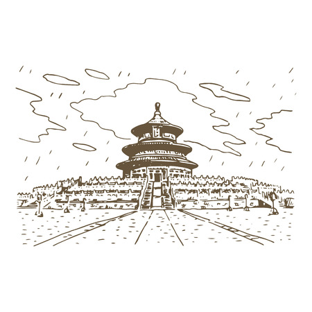 harvests: The Hall of Prayer for Good Harvests in Beijing, China. Vector freehand pencil sketch. Illustration
