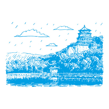 freehand tradition: The Summer Palace scenery, Beijing, China. Vector freehand pencil sketch.