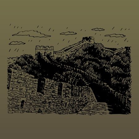 great wall of china: The Great Wall, Beijing, China. Vector freehand pencil sketch.
