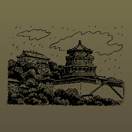 beijing: The Summer Palace in Beijing, China. Vector freehand pencil sketch. Illustration