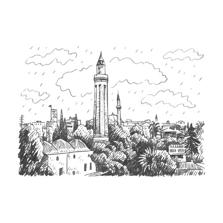 minaret: Grooved Minaret Yivli Minare, Kaleici, Antalya, Turkey. Vector freehand pencil sketch.
