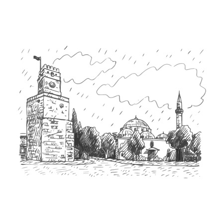 View of Clock Tower, Antalya, Turkey. Vector freehand pencil sketch.