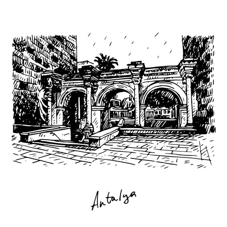 anatolia: Hadrians Gate in old city of Antalya, Turkey. Vector freehand pencil sketch.