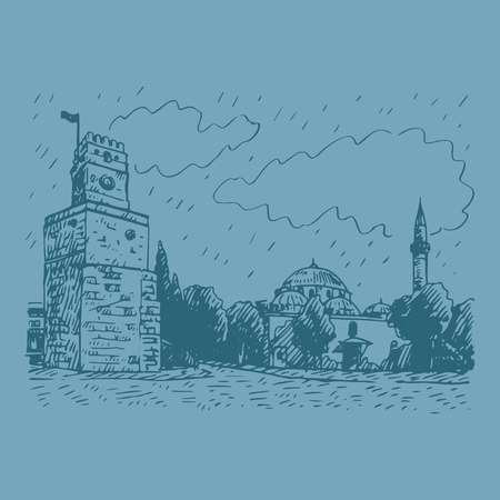 clock tower: View of Clock Tower, Antalya, Turkey. Vector freehand pencil sketch.