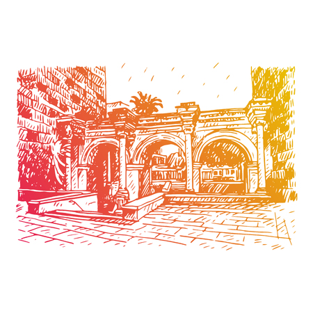 triumphal: Hadrians Gate in old city of Antalya, Turkey. Vector freehand pencil sketch.