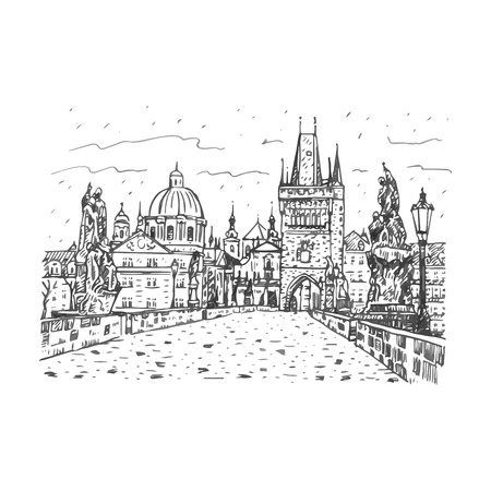 charles: View from Charles Bridge, Prague, Czech Republic. Vector hand drawn sketch. Illustration