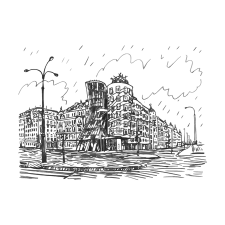 dancing house: Modern building, also known as the Dancing House. Prague, Czech Republic. Vector hand drawn sketch. Illustration