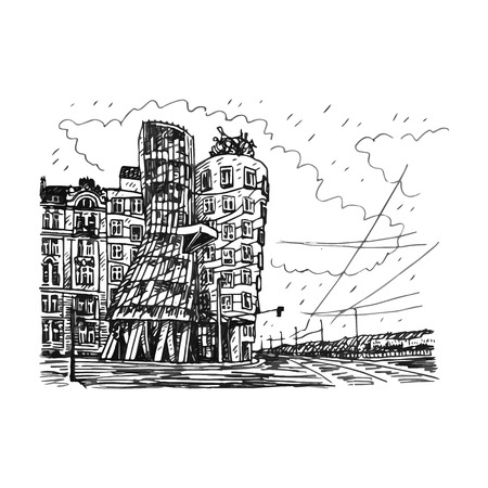 interesting: Modern building, also known as the Dancing House. Prague, Czech Republic. Vector hand drawn sketch. Illustration