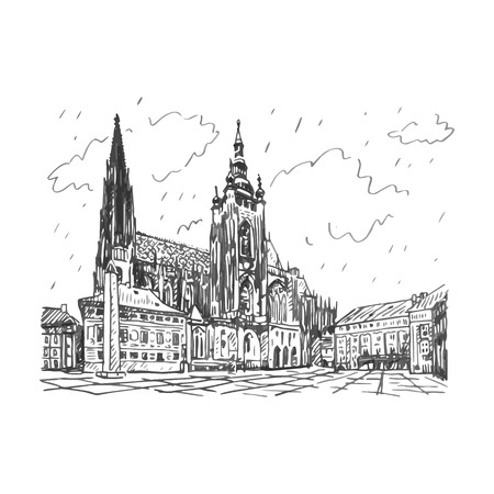 St. Vitus Cathedral in Prague, Czech Republic. Vector hand drawn sketch. Stock Illustratie