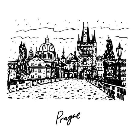 View from Charles Bridge, Prague, Czech Republic. Vector hand drawn sketch. Ilustração