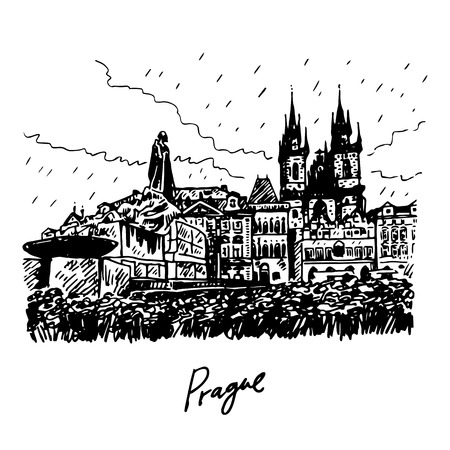 town square: Monument of Jan Hus and Tyn Cathedral of the Virgin Mary. Old town square in Prague, Czech Republic. Vector hand drawn sketch. Illustration