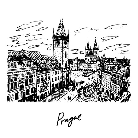 town hall: View of the Old Town Hall and square in Prague, Czech Republic. Vector hand drawn sketch. Illustration
