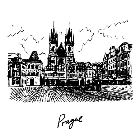 town square: Old Town Square in Prague, Czech Republic. Vector hand drawn sketch. Illustration