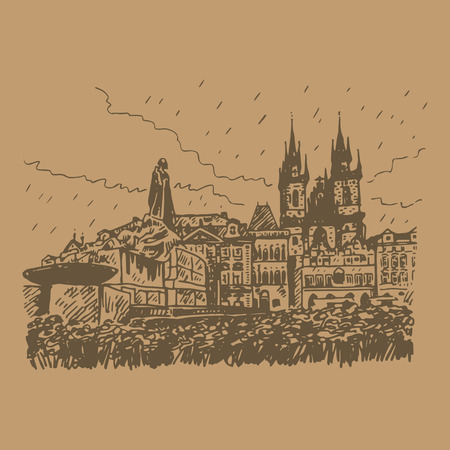 jan: Monument of Jan Hus and Tyn Cathedral of the Virgin Mary. Old town square in Prague, Czech Republic. Vector hand drawn sketch. Illustration