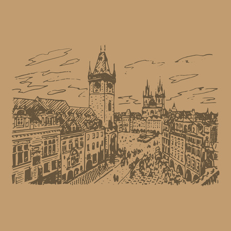 astronomical: View of the astronomical clock tower and old town square in Prague, Czech Republic. Vector hand drawn sketch.
