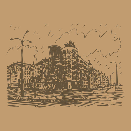 known: Modern building, also known as the Dancing House. Prague, Czech Republic. Vector hand drawn sketch. Illustration