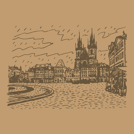 town square: Old Town Square, Church of Our Lady before Tyn, Prague, Czech Republic. Vector hand drawn sketch.