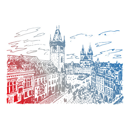 town square: View of the astronomical clock tower and old town square in Prague, Czech Republic. Vector hand drawn sketch.