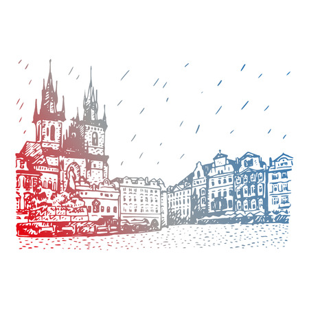 jan: Old town square in Prague, Czech Republic. Church of Our Lady before Tyn and monument of Jan Hus. Vector hand drawn sketch. Illustration