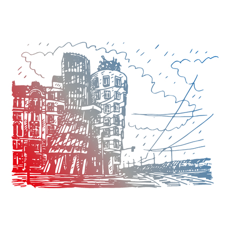 building sketch: Modern building, also known as the Dancing House. Prague, Czech Republic. Vector hand drawn sketch. Illustration
