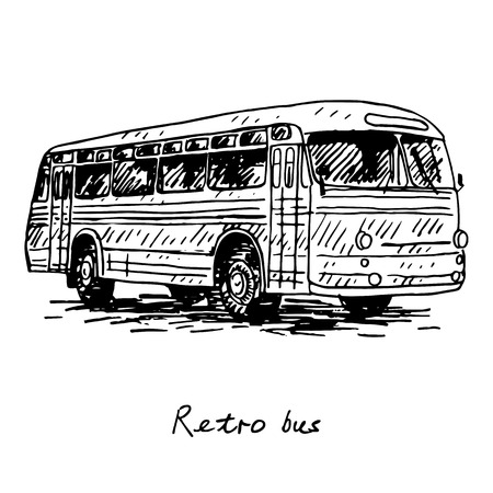 old times: Retro bus. Picture of vintage transport. Old times. Vector hand drawn sketch.