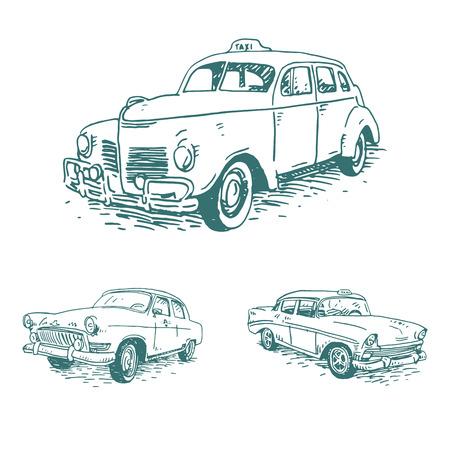 ビンテージ タクシーのセットです。レトロな輸送。昔。ベクターの手描きのスケッチ。  イラスト・ベクター素材