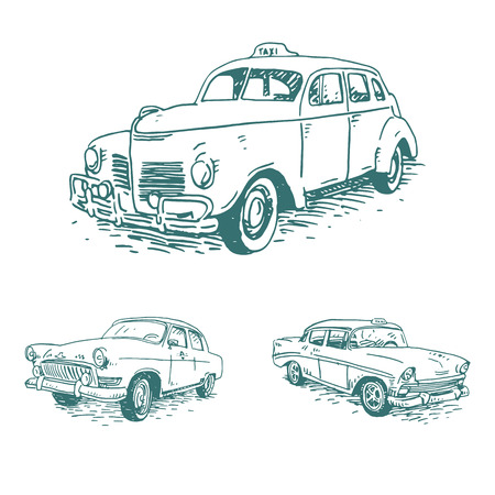 Set of vintage taxi. Retro transport. Old times. Vector hand drawn sketch.