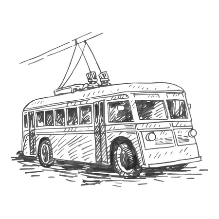 Retro trolleybus. Picture of vintage transport. Old times. Vector hand drawn sketch. Vektoros illusztráció