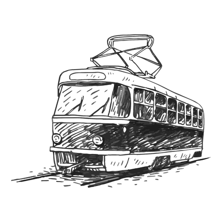 old times: Retro tram. Picture of vintage transport. Old times. Vector hand drawn sketch.