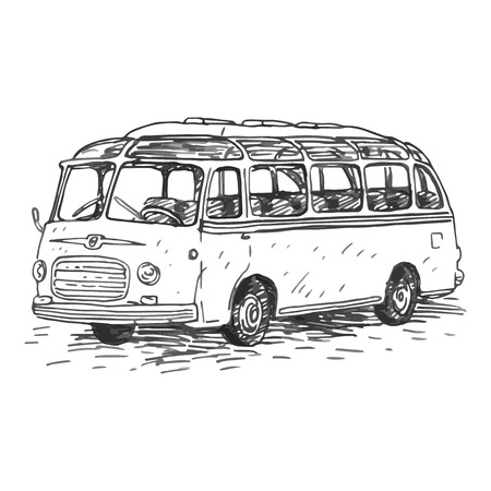 Retro bus. Picture of vintage transport. Old times. Vector hand drawn sketch.