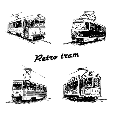 Set of retro trams. Picture of vintage transport. Old times. Vector hand drawn sketch.