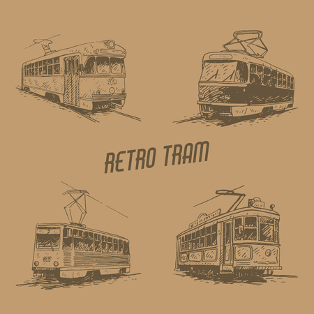 old times: Set of retro trams. Picture of vintage transport. Old times. Vector hand drawn sketch.